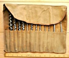 More details for 12x vintage english wood auger drill bits in cloth roll - ridgway, gilpin etc