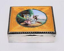 Antique Victorian Silver Guilloche Enamel Box w Beautiful Scenic Portrait