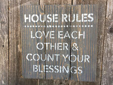 House Rules Love Each Other Sign Valentines Wedding Decor Rustic Wood Wall Art