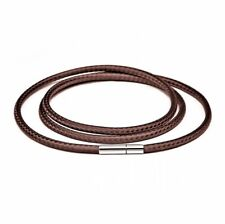 Men Women Brown Wax Leather Cord Stainless Steel  Necklace Rope (Turn & Pull)