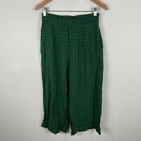 Sportsgirl Womens Pants 10 Green Plaid Elastic Waist Zip Linen Blend Pockets