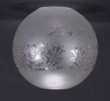 Globe boule gravure LOUIS XV lampe a pétrole lustre luminaire Diam 15 cm. Trou 5