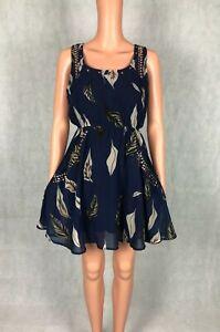 Apricot Lilly Embellished Studded A-Line Dress With Pockets - Size XS