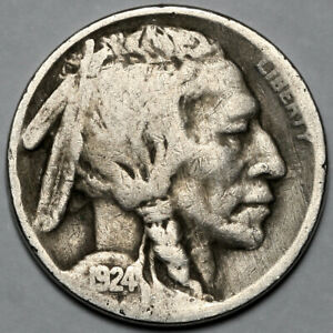 1924 UNITED STATES COPPER NICKEL INDIAN HEAD BUFFALO NICKEL 5 FIVE CENT COIN