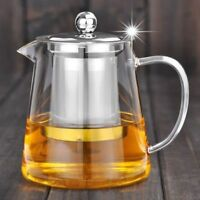 Kettle Safe Glass Teapot With Stainless Steel Herbal Infuser Coffee Tea Pot Gift
