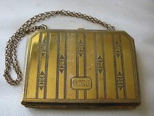Antique Art Deco LARGE Gold T Coin Holder Dance Flapper Card Case Purse Compact