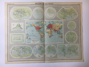 1922 ANTIQUE OLD MAP BARTHOLOMEW TIMES ATLAS OF MAPPING OF THE WORLD