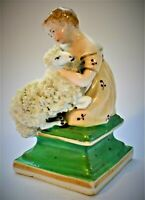 Antique English Staffordshire Girl with Ram Victorian Figure Figurine c. 1840-50