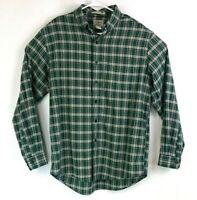 LL Bean Mens sz M Green Plaid Button Down Traditional Fit Long Sleeve Shirt