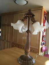 """Table Lamps Vintage Art Nouveau Deco """"Jefferson"""" Tall Cast Metal Antique Brass"""