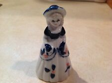 "Vintage Porcelain Girl Bell~White & Cobalt Blue~Pink Flowers~4 1/2"" Tall~337~Exc"