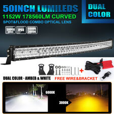 Dual Color 50 In 1152W Amber/White Led Curved Work Light Bar Ford Offroad Strobe