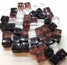 50 x 6mm Crystal Glass Square / Cube Beads - AMETHYST MIX - A3065