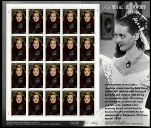 Bette David Legends of Hollywood Sheet of Twenty 32 Cent Stamps Scott 4350