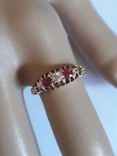 5 stone RUBY red DIAMOND 18ct yellow GOLD claw RING round gemstones hallmark