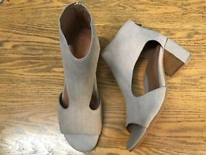 GENTLE SOULS ROAN OPEN TOE HEELED BACK ZIPPER LEATHER TAUPE SHOES NWOB SIZE 9
