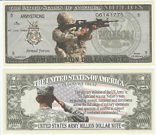 U.S. Army Mission Million Dollar Bill Collectible Fake Play Funny Money Note