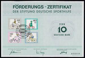 SPORTHILFE ZERTIFIKAT 1985 CERTIFICATE GERMAN OLYMPIC COMMITTEE RADFAHREN za48