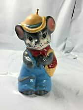 Vintage 1981 Jasco Mouse Candle Figurine Hand Painted Rare Unused Rat Farmer Vtg