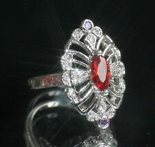 Vintage Design Created Quartz, Amthyst and Diamond Marquise Ring, Size N / 7