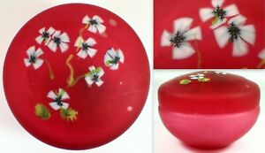 "GORGEOUS Antique Satin Cranberry Art Glass Flower 4.75"" Lidded Powder Jar Box"