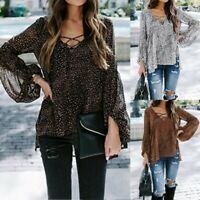Womens Fashion Leopard Blouse Casual Crewneck Long Sleeve T-Shirt Ladies Tee Top