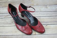 Etienne Aigner Red Heels Size 8 Ankle Straps Leather Rainier