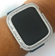 Bling apple watch Series 4 S4 bezel case Baguette Zirconia Diamond Silver 44mm