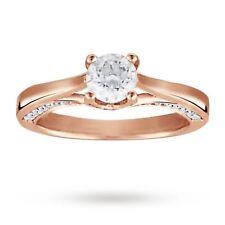 0,55 Cts Runde Brilliant Cut Natürlichen Diamanten Jahrestag Ring In 14K Rotgold