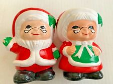 Vintage Christmas Mr and Mrs Santa Claus Ceramic Votive Candle Holders lot 2