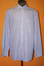 LUIGI BORRELLI White - Blue Striped Cotton Mens Luxury Dress Shirt - 17-43