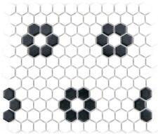 Carrelage mosaïque céramique hexagone noir blanc cuisine 11A-0103_f | 10 plaques