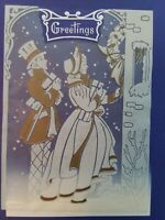 UNUSED Vtg CHRISTMAS Couple At Door CELLOPHANE Overlay GREETING CARD