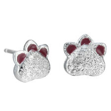 925 Silver Cute Dog Cat Paw Print Stud Earrings Tiny Animal Earring Women Gift