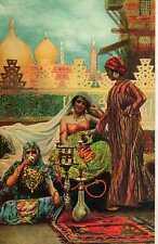Riproduzione Cartolina Illustratore Alberto Fabbi 1910 All'interno di un harem