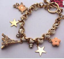 Betsey Johnson PARIS EIFFEL TOWER Gold White Bracelet Crystals Adorable