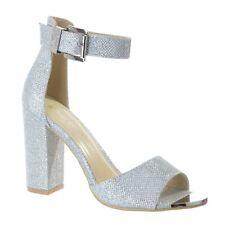 Señoras Mujeres Hebilla Oro de correa de tobillo alto Bloque talón Peep Toe  Sandalia Court Shoe 0d8eb68443a7