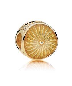 Pandora 18K Ray of Sunshine, Golden CZ Charm #767128EN158 +Pouch