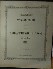 Hülfsgesellschaft Zürich 89. Neujahrsblatt 1889 Schweiz Suisse mit Lithographie