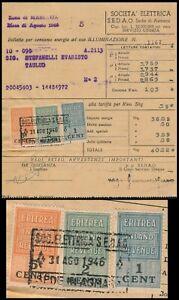B.O.I.C. ERITREA, ASMARA 1946, 3 DIFFERENT INLAND REVENUES ON INVOICE.   #M951