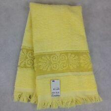 "VTG NOS Hand Bathroom Towel Cannon Monticello Yellow Fringe Scroll 24"" Retro"