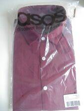 ASOS Tall Slim Short Sleeve Shirt in Burgundy - Size: Medium Long