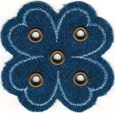 "2 1/8"" Denim Jean Grommet Four Leaf Clover Embroidery patch"