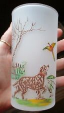VTG.1950'S FROSTED PHEASANT HUNTER GLASS/POINTER DOG~COLORFUL DESIGN~SWANKY SWIG