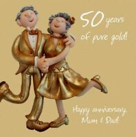 Wedding Anniversary Card - Mum & Dad 50th 50 Years Golden One Lump Or Two Funny