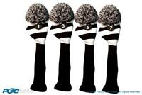 Tour 1 3 5 7 Driver Fairway Wood Black White Golf Headcover Knit Pom Pom Cover