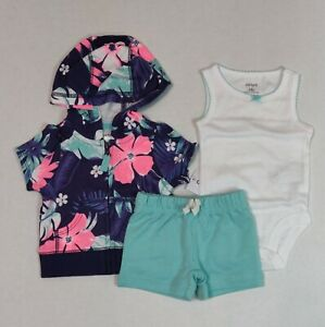 Carter's 3 Piece Set for Girls Newborn or 3 Months Hawaiian Floral Short Set