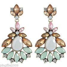New Brown Green Pink White Crystal Ancient Gold Drop/Dangle Long Earring 1142