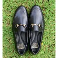 Slip On Handmade Men Black Loafer Horse bit Style luxury Calf Leather Shoes