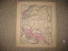 ANTIQUE 1868 TURKEY RUSSIA NORWAY SWEDEN LAPLAND FINLAND CASPIAN SEA HANDCLR MAP